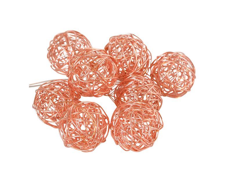 Řetěz vánoční 10 LED, 0,9m, 2xAA, měděné koule, RETLUX RXL 137