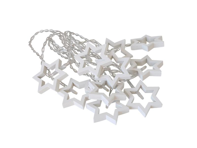 Řetěz vánoční  10 LED, 1,5m, 2xAA, hvězdy dřevěné bílé, šesticípé, RETLUX RXL 170
