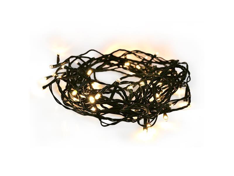 Solight LED venkovní vánoční řetěz, 50LED, 5m, 3m přívod, 8 funkcí, IP44, 3x AA, teplá bílá 1V53-WW