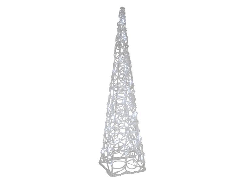 Vánoční dekorace Jehlan - bílá vánoční věž, 50 LED, 3xAA