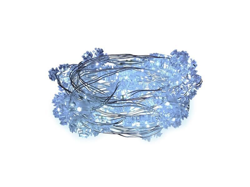 Řetěz vánoční 100 LED, 10m, 3xAA, sněhové vločky, bílá