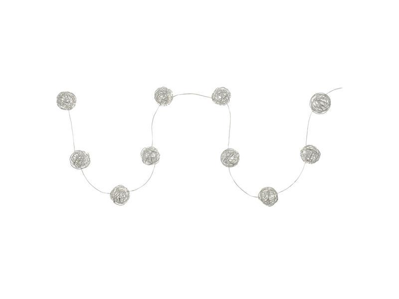 Řetěz vánoční koule sříbrné 10LED WW TM RETLUX RXL238