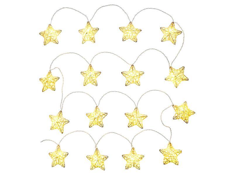 Řetěz vánoční hvězdy přírodní 16 LED WW TM RETLUX RXL249