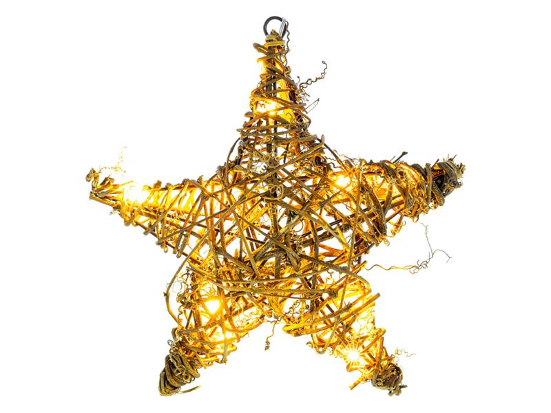 Vánoční dekorace hvězda ratan 10 LED WW TM RETLUX RXL255