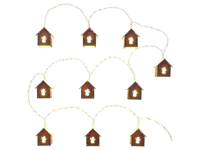 Řetěz vánoční domeček, sníh, 10 LED WW TM RETLUX RXL 267
