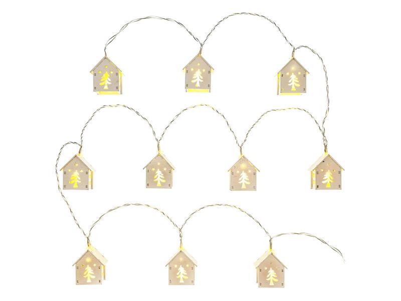 Řetěz vánoční domeček, sníh, 10 LED WW TM RETLUX RXL 268