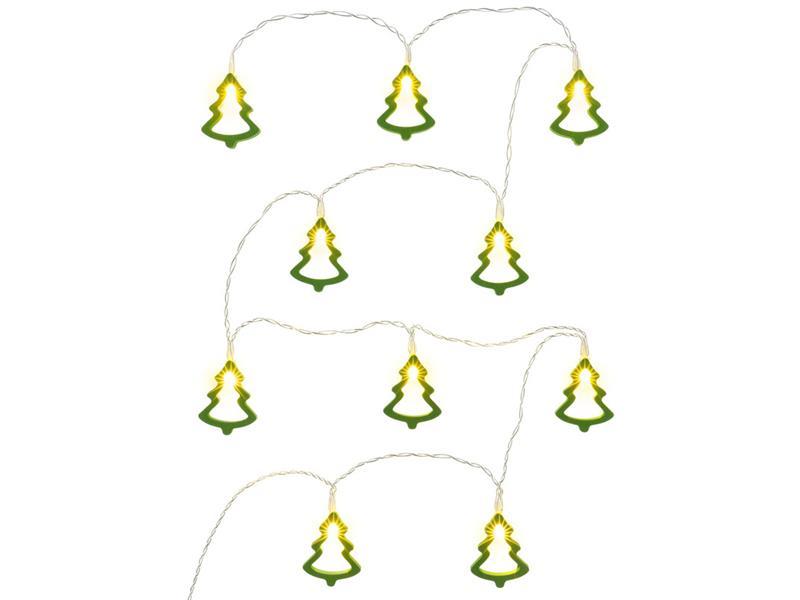 Řetěz vánoční stromky dřevěné 10 LED GR.WW TM RETLUX RXL286