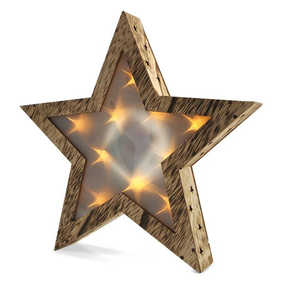 Solight LED dřevěná vánoční hvězda, 3D efekt světla, 3 x AA , teplá bílá 1V42
