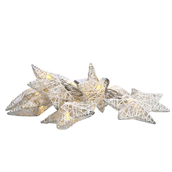 Řetěz vánoční hvězdy bílé proplétané, 10LED, 1m, 2x AA, IP20 SOLIGHT 1V203