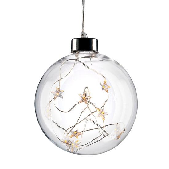 Koule vánoční LED skleněná, 10LED, 2x AA, IP20 SOLIGHT 1V204