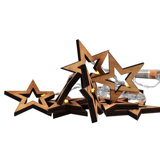 Řetěz vánoční hvězdy dřevěné, 10LED řetěz, 1m, 2xAA, IP20 SOLIGHT 1V205