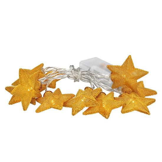 Řetěz vánoční hvězdy zlaté, 10LED řetěz, 1m, zlatá barva, 2x AA, IP20 SOLIGHT 1V212