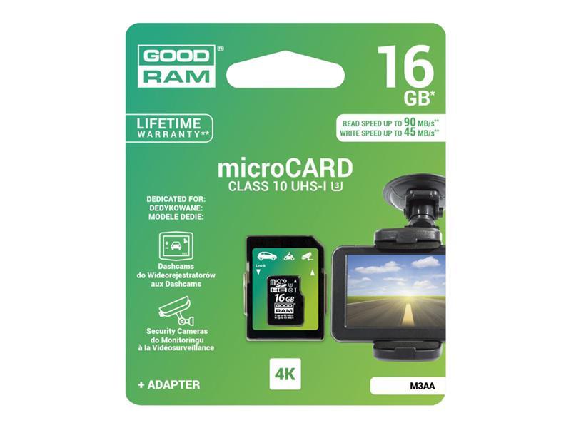 Karta paměťová GOODRAM microSD 16 GB UHS-I pro DVR zařízení s adaptérem