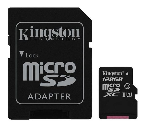 Karta paměťová KINGSTON MICRO SDHC 128GB CLASS 10 + adaptér SDCS/128GB