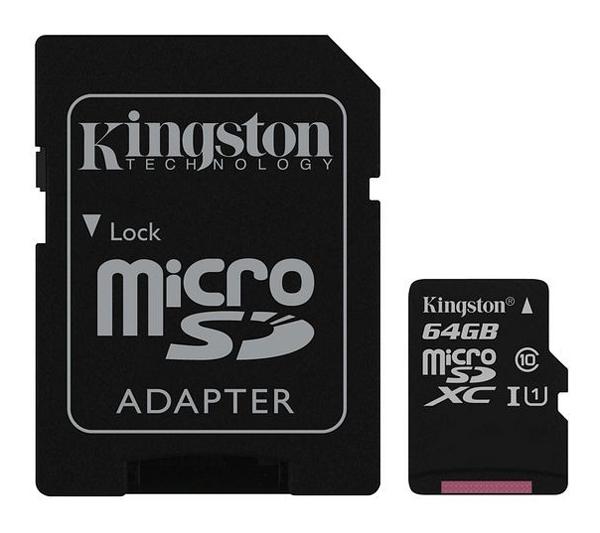 Karta paměťová KINGSTON MICRO SDHC 64GB CLASS 10 + adaptér SDCS/64GB