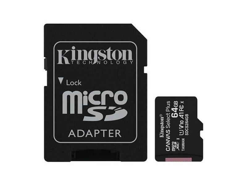 Paměťová karta KINGSTON SDCS/64GB micro SDHC 64GB CL10 s adaptérem