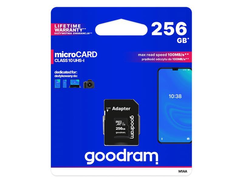 Karta paměťová GOODRAM micro SD 256 GB s adaptérem
