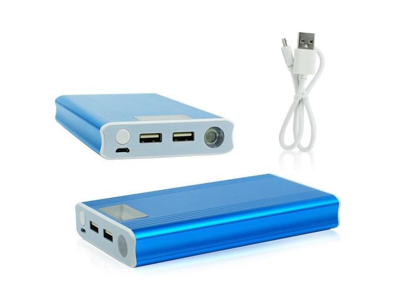 TIPA Externí baterie (Power bank) se světlem - 12 000 mAh, modrá