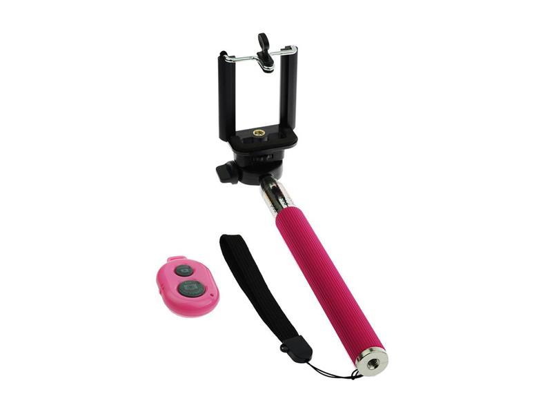 Selfie tyč BLUETOOTH BLUE STAR růžová + dálkový ovladač