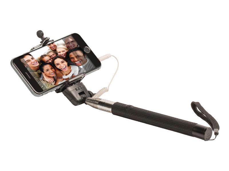 Teleskopická selfie tyč se spouští, pogumovanou rukojetí a bezpečnostním poutkem