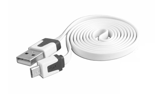 Kabel USB - Micro USB plochý bílý 1m