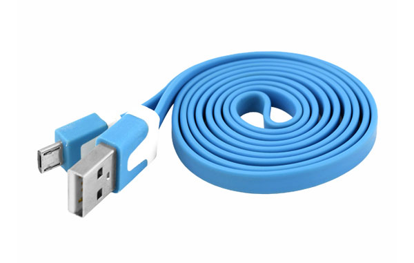 Kabel USB - Micro USB plochý modrý 1m
