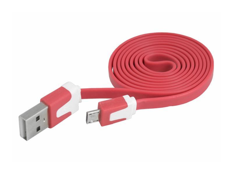 Kabel USB - Micro USB plochý červený 1m