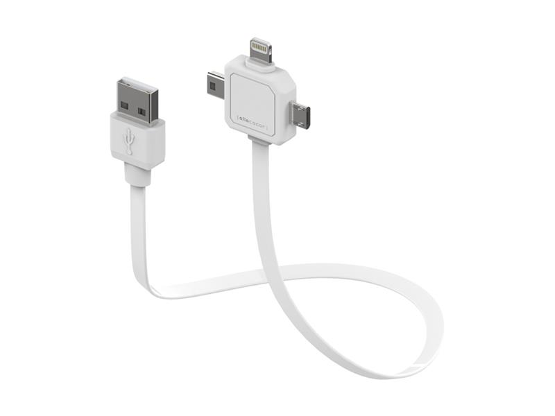 Kabel USB - MICRO USB / MINI USB / LIGHTNING PowerCube bílý