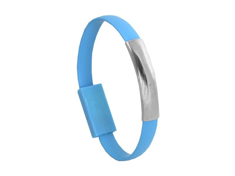 Náramek USB - Micro USB univerzální modrý