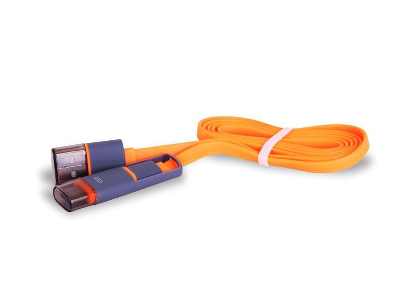 Kabel USB - Micro USB / USB-C TYPE plochý oranžový 1m CPA