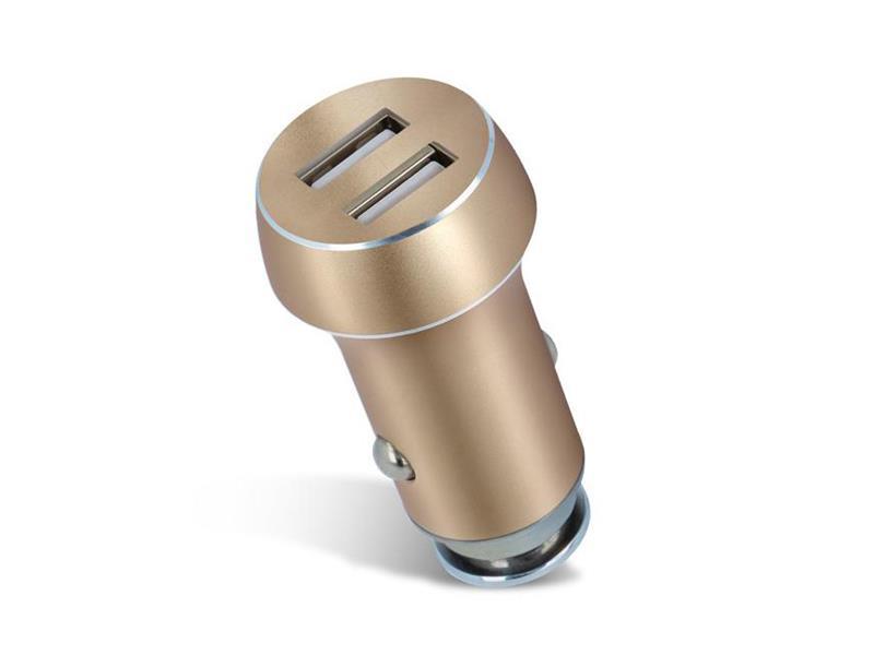 Nabíječka do auta 2x USB 3100 mAh FOREVER zlatá TROGO