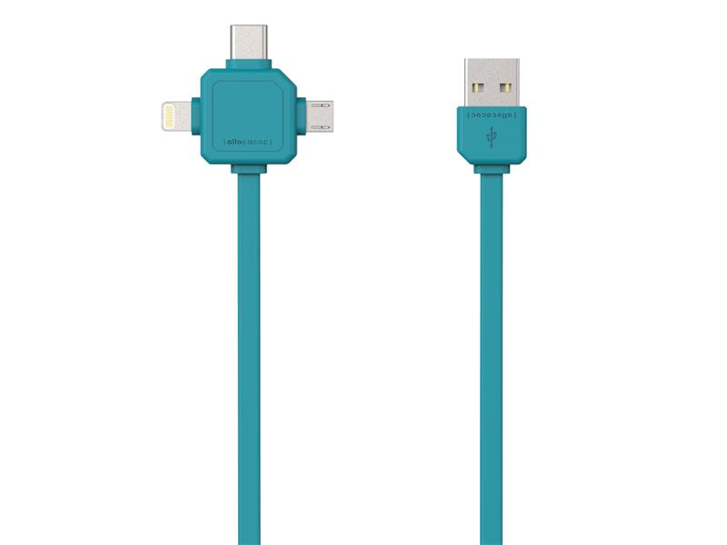 Kabel USB - MICRO USB / USB C-TYPE / LIGHTNING BLUE