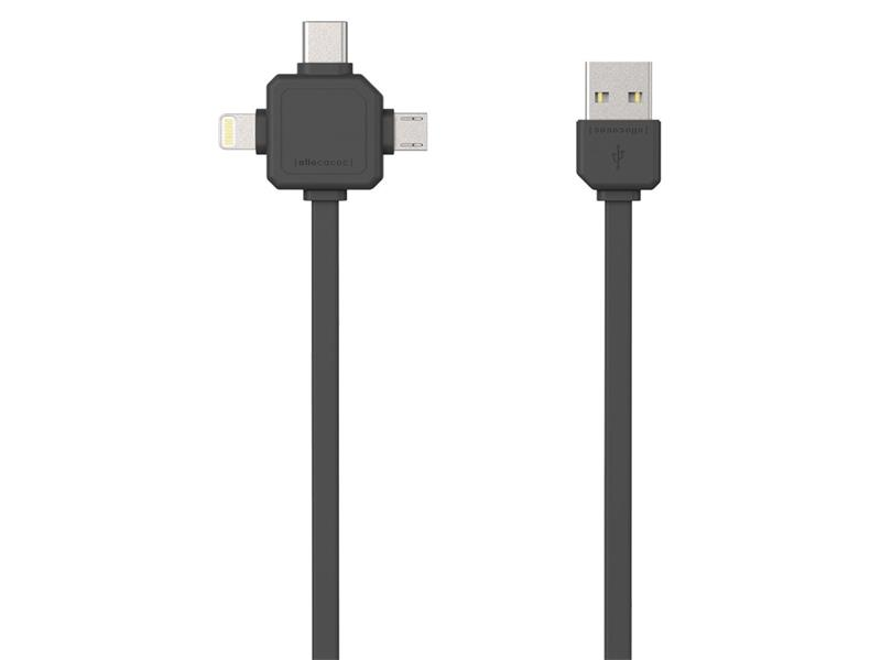 Kabel USB - MICRO USB / USB C-TYPE / LIGHTNING GREY