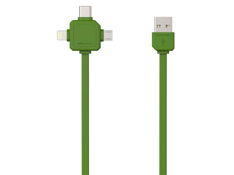 Kabel USB - MICRO USB / USB C-TYPE / LIGHTNING GREEN