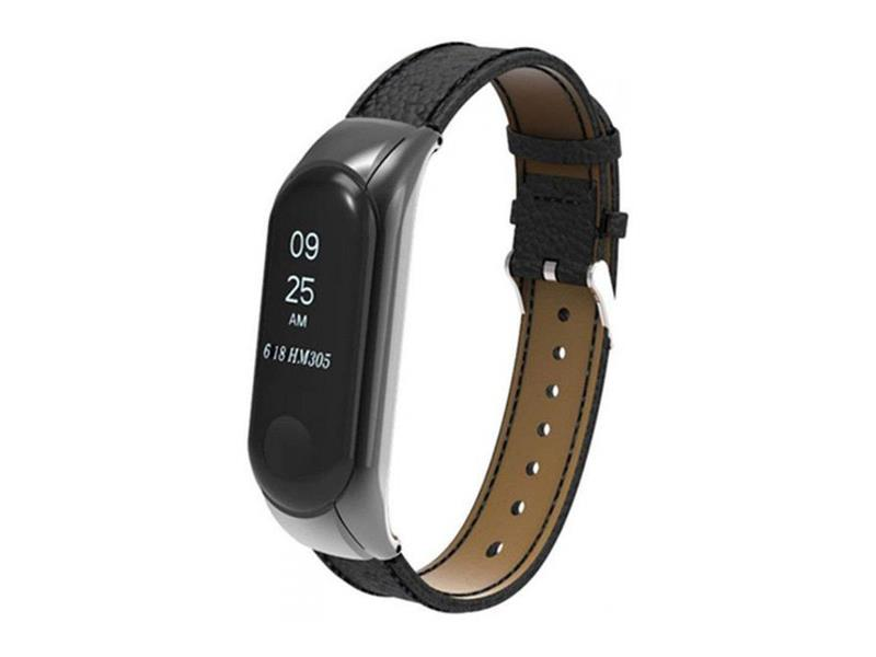 Řemínek XIAOMI MI BAND 3 LEATHER BLACK
