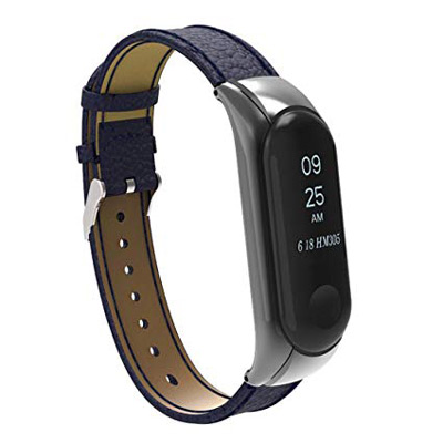 Řemínek XIAOMI MI BAND 3 LEATHER DARK BLUE