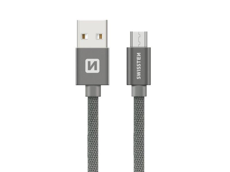 Kabel SWISSTEN USB/Micro USB 0,2M šedý