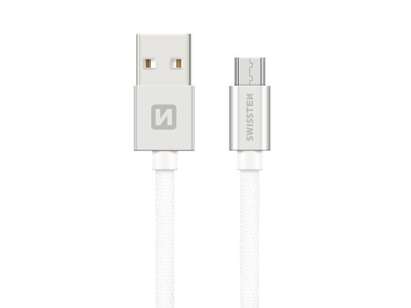 Kabel SWISSTEN USB/Micro USB 0,2M stříbrný