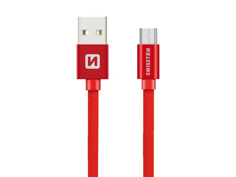 Kabel SWISSTEN USB/Micro USB 0,2M červený