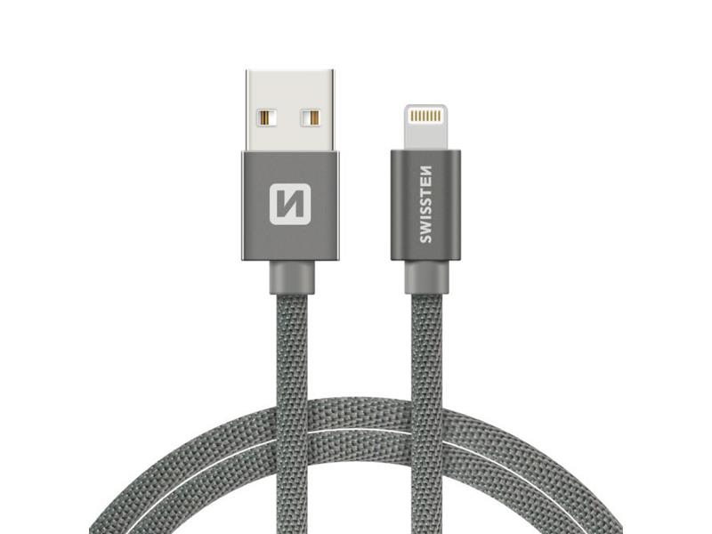 Kabel SWISSTEN USB/Lightning MFi 1,2m šedý