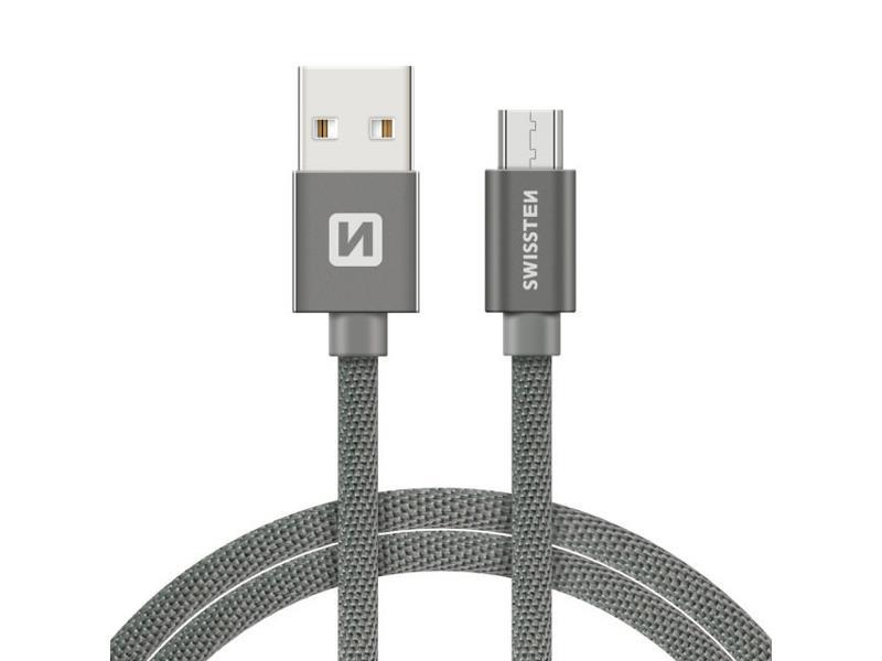Kabel SWISSTEN USB/Micro USB 1,2M šedý