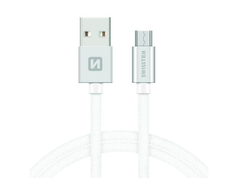 Kabel SWISSTEN USB/Micro USB 1,2M stříbrný