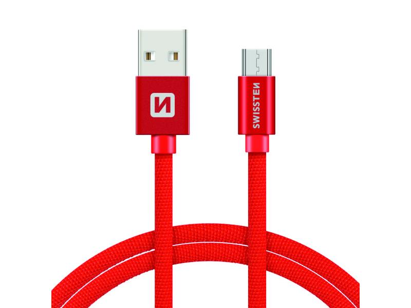 Kabel SWISSTEN USB/Micro USB 1,2M červený