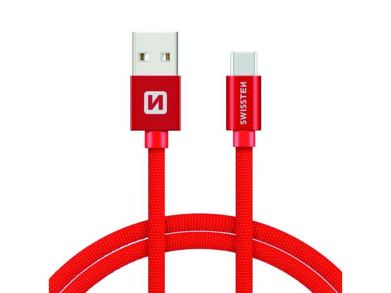 Kabel SWISSTEN USB/USB-C 1,2M červený
