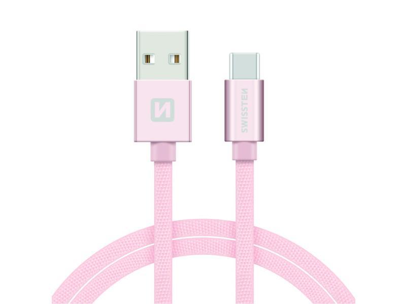 Kabel SWISSTEN USB/USB-C 1,2M růžovo/zlatý