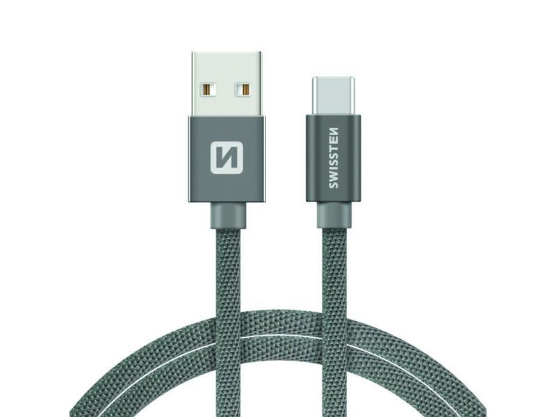 Kabel SWISSTEN USB/USB-C 1,2M šedý