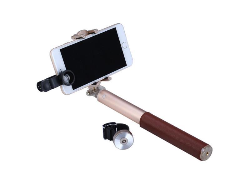 Selfie tyč GAMACZ s příslušenstvím kožená hnědá