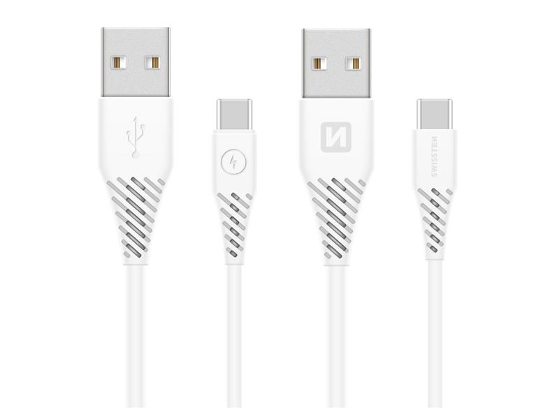 Kabel SWISSTEN USB/ USB-C 3.1 bílý 1,5M (delší konektor 9mm)