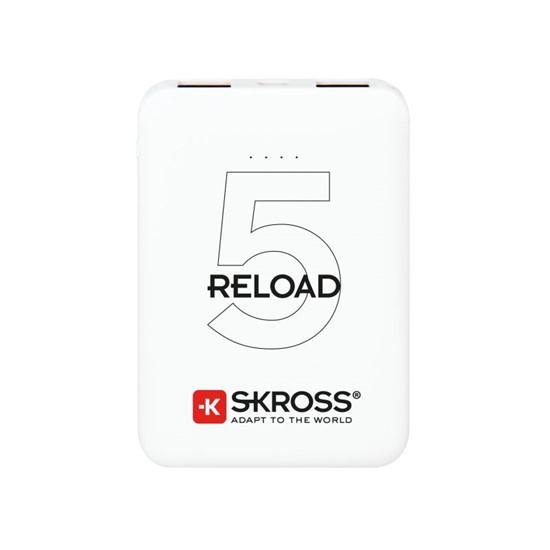 Powerbank SKROSS Reload 5, 5000mAh, 2x 2A výstup, microUSB kabel, bílý