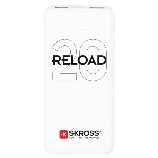 PowerBank SKROSS Reload 20, 20000mAh, 2x 2A výstup, microUSB kabel, bílý